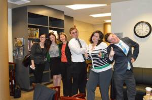 Some of the members of my cohort as we participate in mock-interview day through our program.