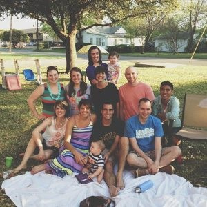 Enjoying a Sunday afternoon picnic with coworkers at Baylor University.