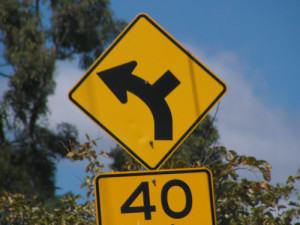 street sign with diverging paths and 40 on it