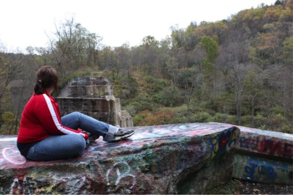 Carly Masiroff with back to camera looking out over a waterfall landscape