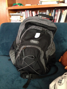 And, I re-purposed a hiking backpack from home, and will now be using it as my school bag.