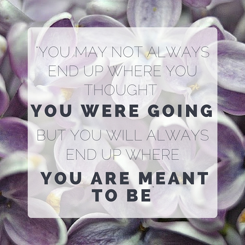 -You may not always end up where you thought you were going,