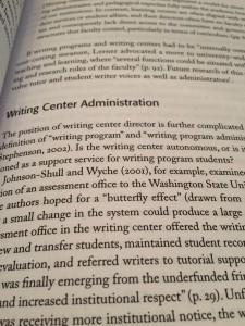 I consume as much literature as I can that focuses on Writing Centers within Higher Ed.