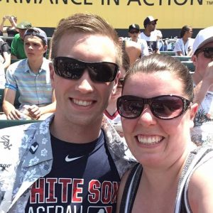 My fiance, Kelly, and I at a Chicago White Sox game before moving yo FL.