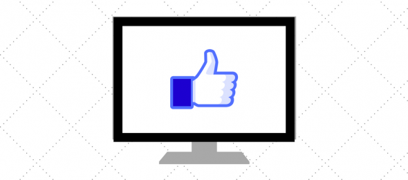 Computer screen with thumbs up
