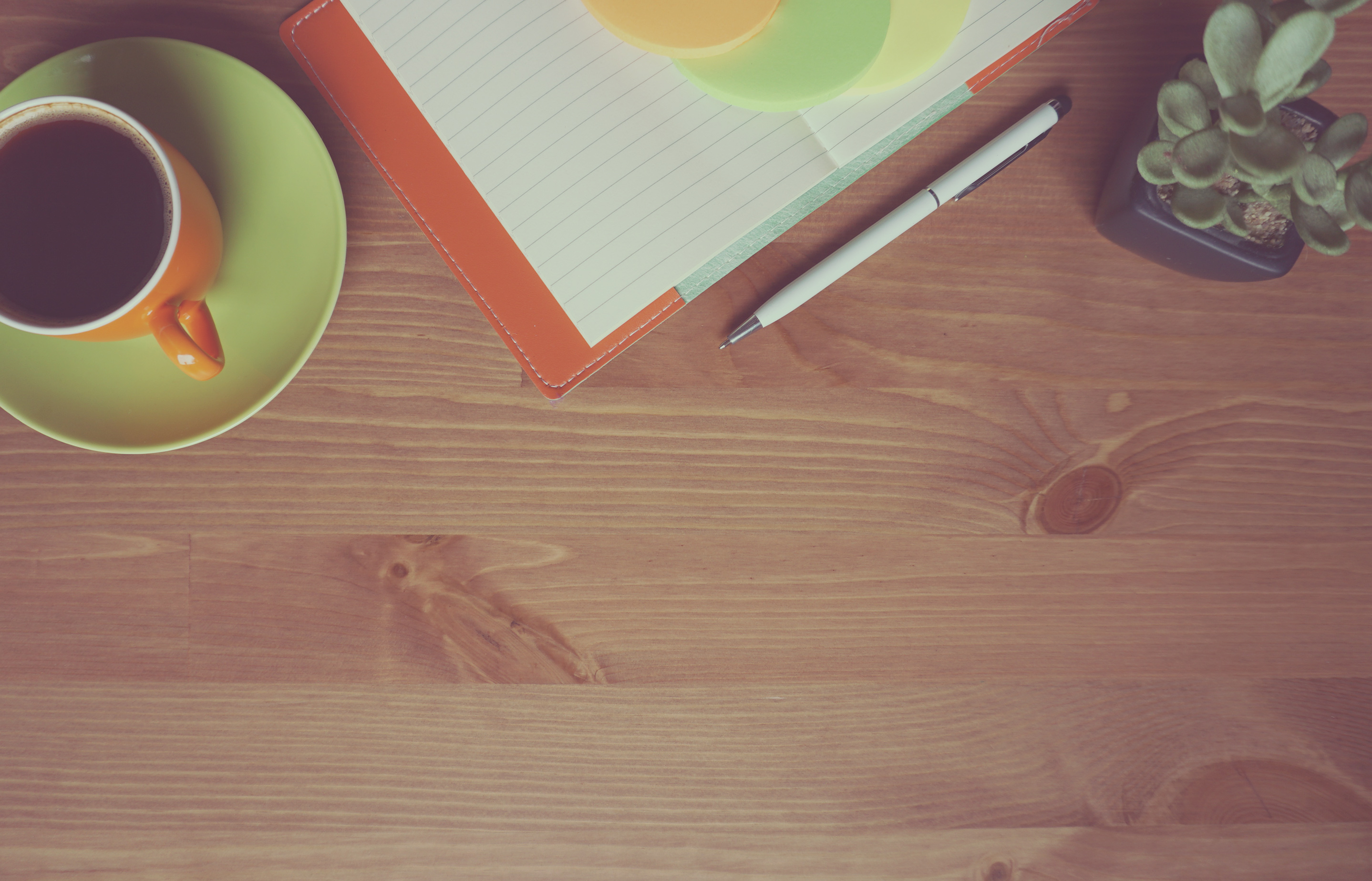 Open orange notebook on wooden table. Notebook is placed among a coffee cup, pen, and succulent.