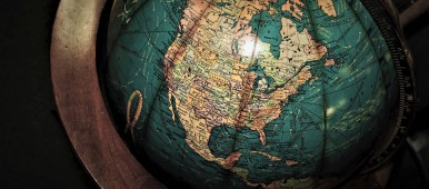 close up of globe with focus on North America
